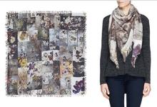 Italy Imports 120*120cm Faliero Sarti floral print silk cashmere scarves large square pashmina scarf women Luxury brand hijab(China (Mainland))