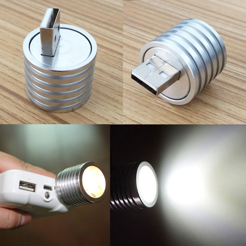 Original 2W Portable Mini USB LED Spotlight Lamp Mobile Power Flashlight Silver for CE certification(China (Mainland))