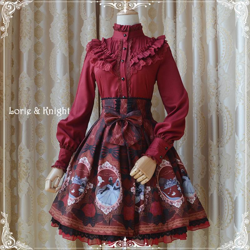Fairy Tale Alice Print Chiffon Sweet Lolita SK High Waist Ruffled A-line Skirt