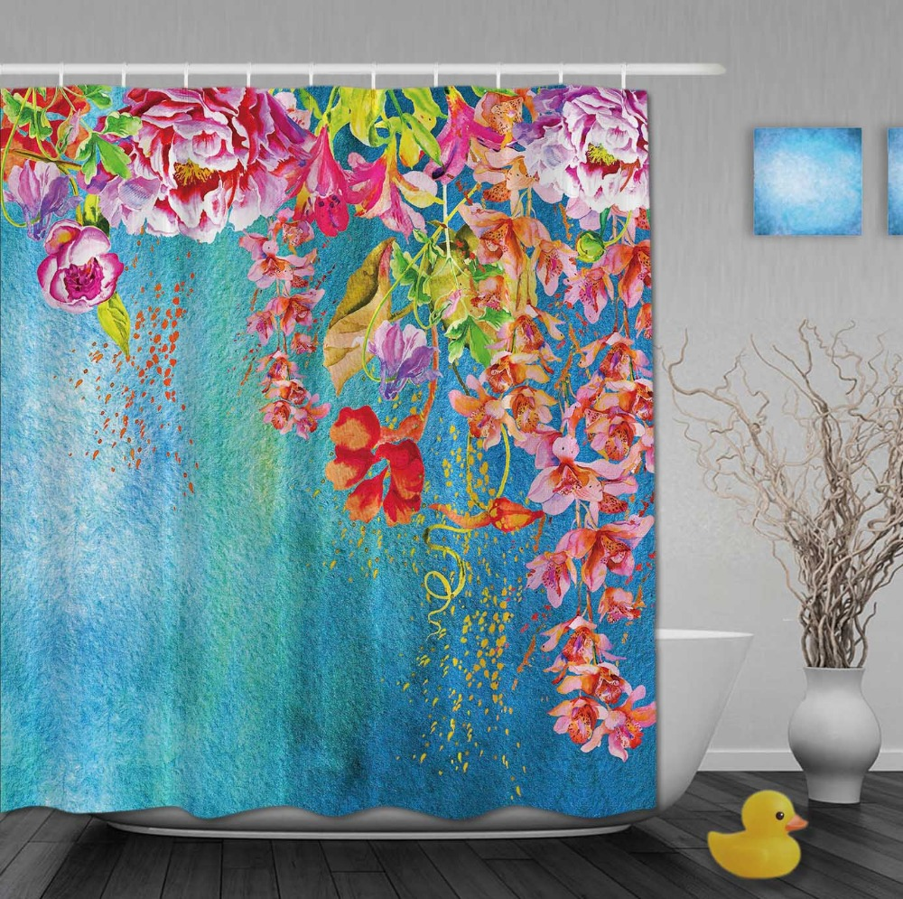 Custom Watercolor beautiful Red Floral And Blue pattern background Shower Curtains Waterproof Fabric With Hooks Bathroom Curtain(China (Mainland))