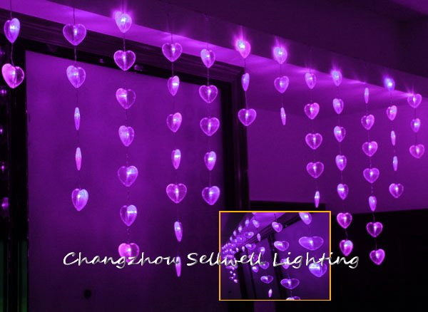 GOOD!LED festival bulb entrance decoration 0.7*2m purple shape of heart bead curtain lamp H147(China (Mainland))
