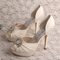 Custom Handmade Women Open Toe Very High Heel Platform Party Evening Shoes Wedding