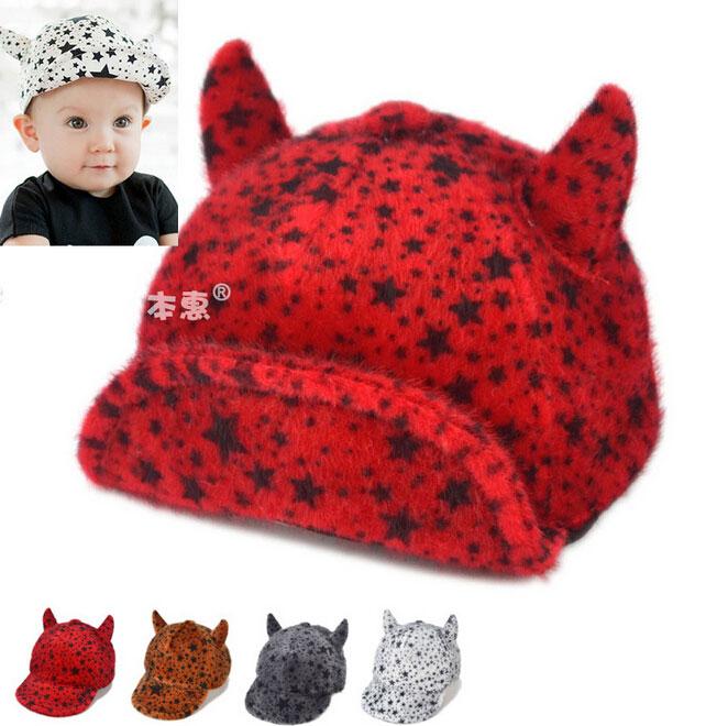 Retail Unisex Baby Ox Horn Baseball Caps Five-pointed Star Jacquard Children Kids Autumn Winter Warm Baseball Hats MZ3154(China (Mainland))