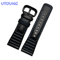 High Quality Genuine Leather Watchband 28mm Mens Black Top Leather Watch band For P1P2P3