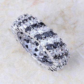 New 2015 Wholesale & Retail Black & White Cubic Zirconia 18k Gold Plated Fashion Cluster Engagement Ring J302