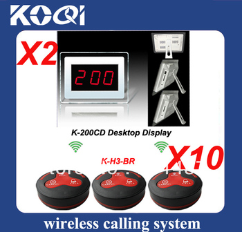 1set Wireless Call System with 10pcs H3-BR button and 2 K-200CD receiver