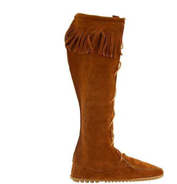 2016 high women boots genuine cowhide leather cow suede fringed boots lace boots wholesale manufacturers CN5345(China (Mainland))