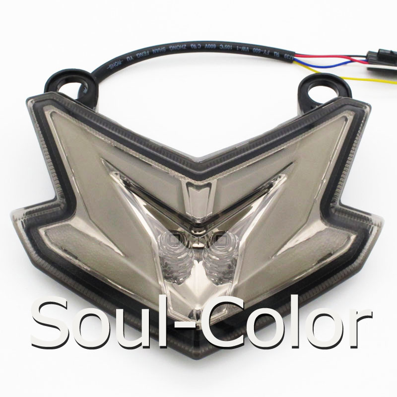 Motorcycle Smoke Wolf Head LED Rear Taillight Tail Rear Turn Signal Brake Light For Kawasaki Ninja ZX636 ZX6R Z800 2013 2014<br><br>Aliexpress