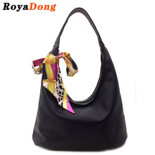 RoyaDong 2016 New Women's Handbag Shoulder Bags With Scarf Hobos Designer Hand Bags For Women Black Artifici Leather Bags Ladies(China (Mainland))