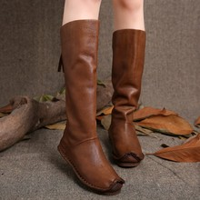 2016 Vintage Style Women Boots Knee High Genuine Leather Back Zip Handmade Shoes High Boots(China (Mainland))
