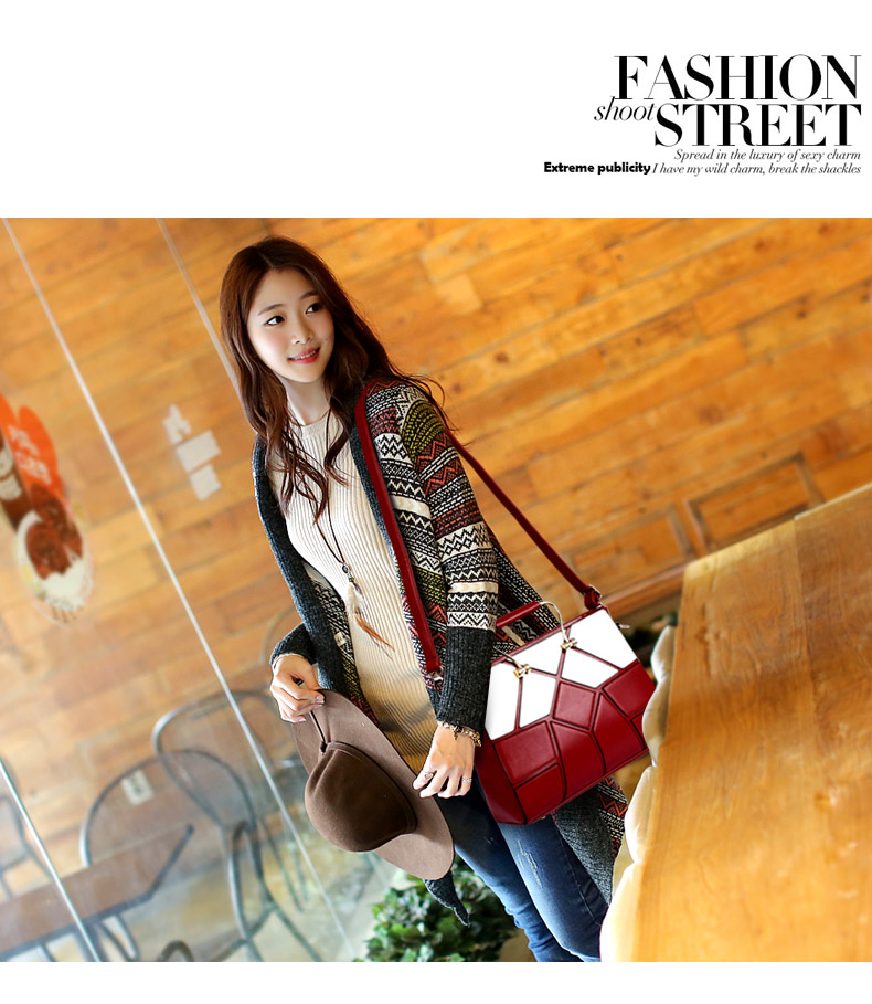 Luxury Elegant PU Hand Bag 2016 New Women Retro Patchwork Red And Black Geometric Splicing Plaid Large Capacity Shoulder Bag