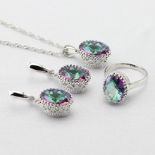 Multicolor Jewelry Sets Silver Color Zircon Rings Earrings Necklace Charms Wedding Accessories Party For Women Thanksgiving Gift(China (Mainland))