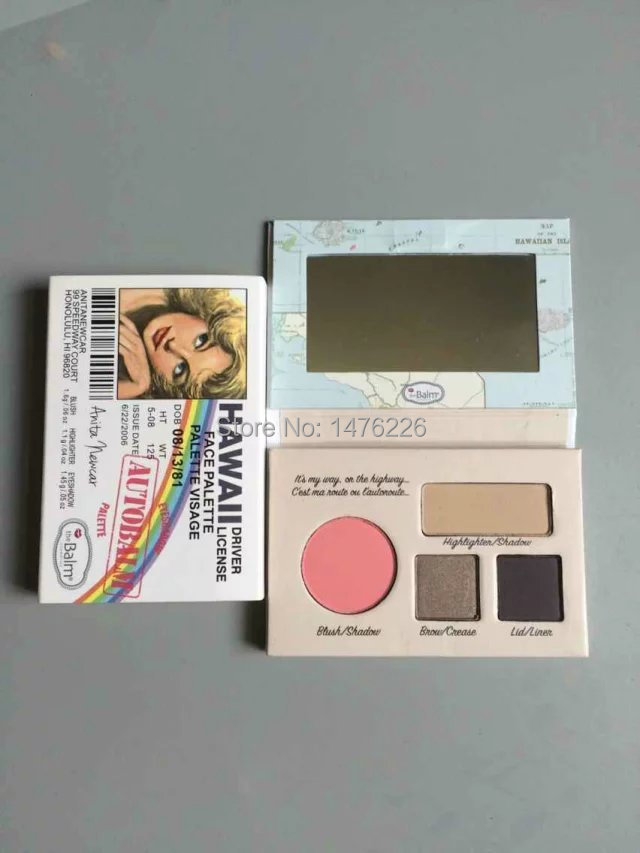 1piece new Professional the balm HAWALL DRIVER LICENSE FACE PALLETTE Eyeshadow Palette(China (Mainland))