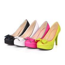 Hot sale !  Big size 30-50 Fashion solid Women's shoes Bowknot decoration Platform Candy color wedding high heels HQW-6868(China (Mainland))