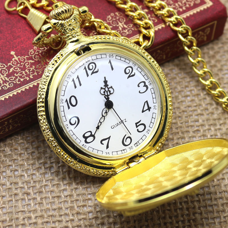 2015 New Fashion Color Gold Pocket Watch With Necklace For Men Women Pocket Watches(China (Mainland))