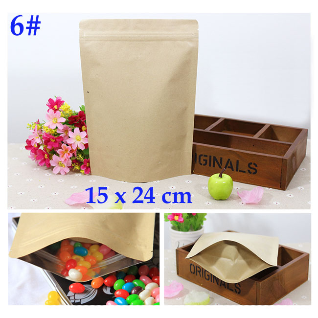 15x24 cm kraft foil bags wide base Aluminum foil zip lock sealable bags food coffee gift packaging wholesale 50 pcs/lot(China (Mainland))