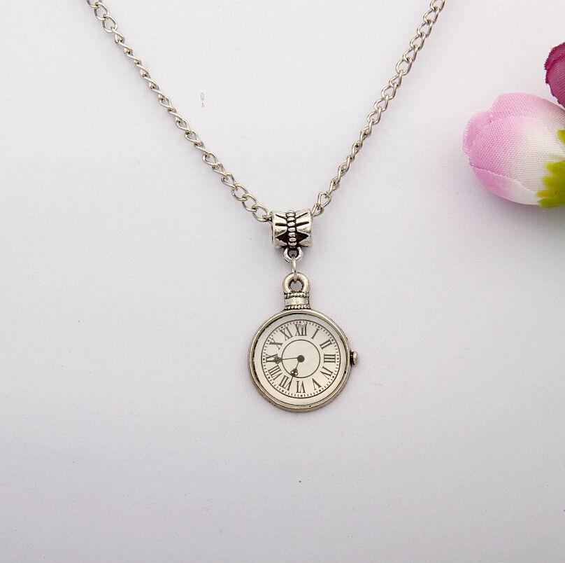Fashion Zinc Alloy Silver Drip Clock Charm Pendants Chain Necklace Fashion Jewelry Fitting Findings DIY For Women Men 10PCS 071(China (Mainland))