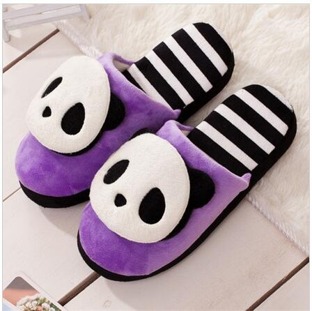 Men Women Warm Winter Soft Cute Plush Anti-slip Panda Slippers Shoes Indoor Home(China (Mainland))