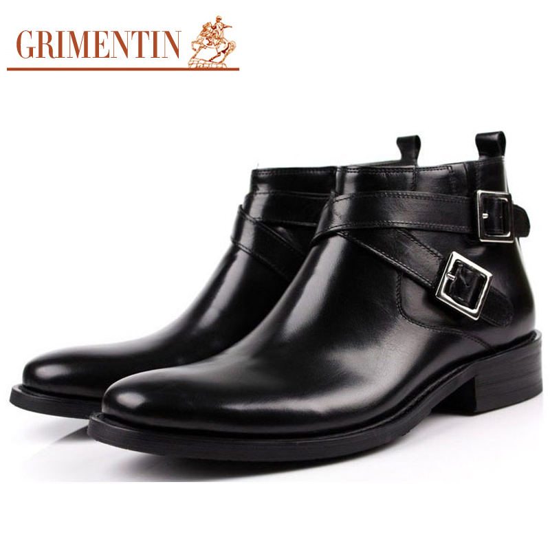 Brand Designer Mens Leather Boots Genuine Handmade Black Brown Buckle Strap Rubber Solo Formal Winter Footwear Size38-45 BO2(China (Mainland))