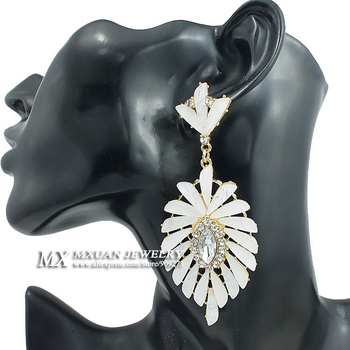 New products of High Quality European and American Fashion Star Charm Seashell Shape Rhinestone Earrings ER038 Feathers