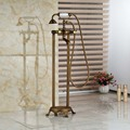 Brass Antique Free Standing Clawfoot Bath Tub Filler Faucet Floor Mounted Dual Cross Handles