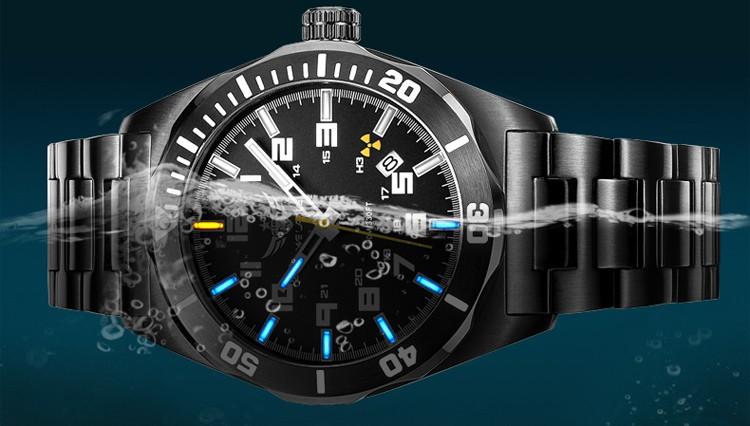 YELANG V1014 мужские стали и кожаный ремешок для часов водонепроницаемый 100 м газообразного трития самосветящийся световой бизнес автоматические механические часы