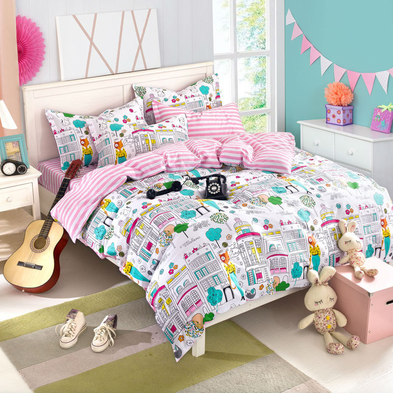 city print fashion sheet set queen size comforter sets pink color 100% Cotton fabric fast delivery(China (Mainland))