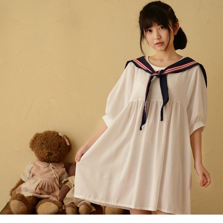 2015 Summer Women New Dresses Half Sleeve Sailor Collar Loose Solid Above Knee Knitting Japanese Mori Girl Hot Sale(China (Mainland))