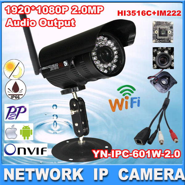 Wireless IP Camera Outdoor indoor 2.0megapixel wifi camera nignt vision audio output 1080P cctv cameraHI3516C+SONY IM222<br><br>Aliexpress