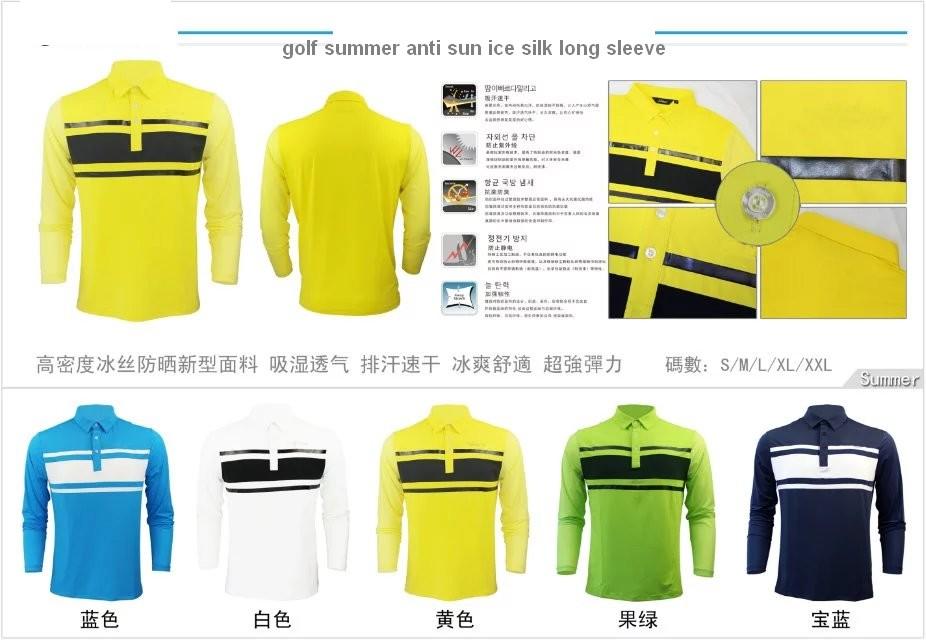 free shipping Men's TI anti sun ice silk summer golf long sleeve T shirt(China (Mainland))