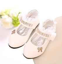 Girls PU leather shoes autumn party shoes for girls flower wedding children single student  flower princess baby shoes 988(China (Mainland))