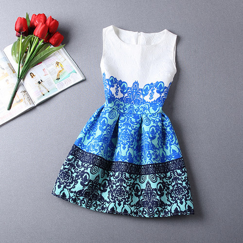 S-3XL 2015 New Casual Jacquard Mini Dress Fashion Cozy Cloth Summer Elegant Women Dress Flower Print Porcelain Embossing Dresses(China (Mainland))