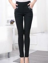 2015 winter lady black outer wear leggings stretch skinny double pockets pencil pants large size high elastic waist trousers (China (Mainland))
