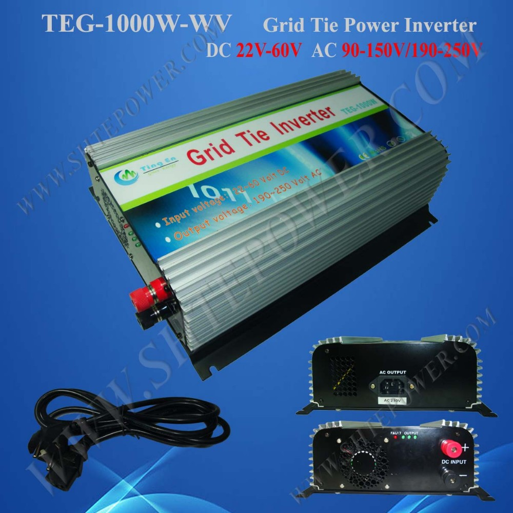 Grid Tie 1000W Pure Sine Wave Solar Inverter for PV Power, DC22-60V, AC 190V~260V, 50Hz or 60Hz, Free shipping(China (Mainland))