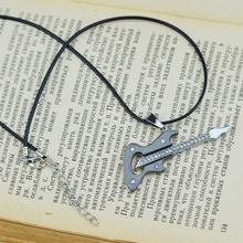 2015 New Fashion Trendy Male Gutar Shape Punk Rope Pendant Necklace For Men Vintage Guitar Pendant