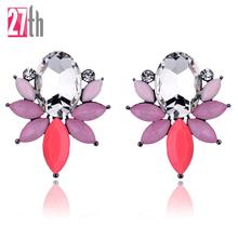 Buy 9 Colors New Crystal Opal Stone Stud Earrings Golden Fish Design Piercing Earrings Trendy Women Jewelry Gift New Year for $1.20 in AliExpress store
