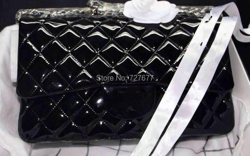 Free shipping 2013 dorsil jumbo new original patent leather ladies single shoulder bag mang colors(China (Mainland))