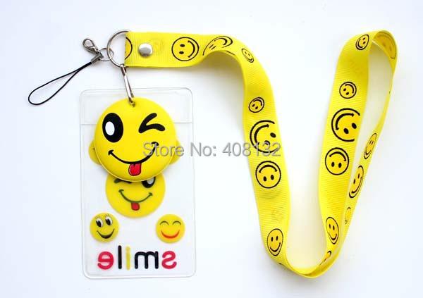 Wholesale ! 50pcs Yellow Smiling Face Lanyard Neck Strap ID Card Badge / Mobile P Holder(China (Mainland))