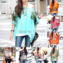 Women Loose Bat Sleeve Bohemian Styles Chiffon Casual Floral T-Shirt Tops shirt(China (Mainland))