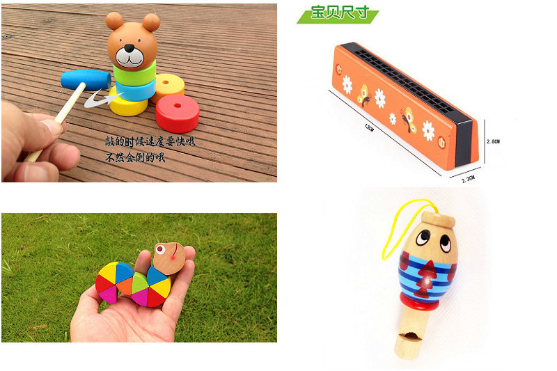 Free delivery factory price children's wooden toys 4 piece suit, wooden harmonica toy, classic hand-painted woodenwhistle toys(China (Mainland))