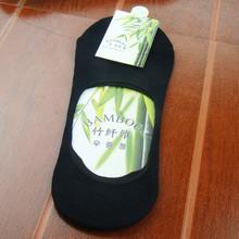 Men s Bamboo fibre Non slip Silicone Invisible Boat Socks Summer Casual Male Sock slippers Black