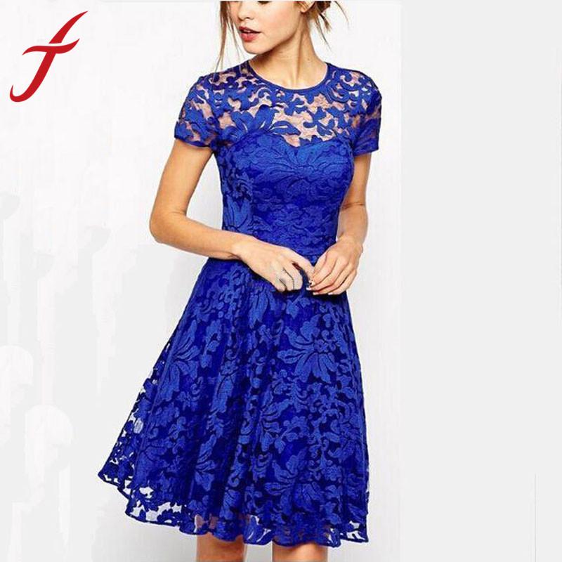 Feitong 3 Colors Women 2015 Women Summer Dress Ladies Short Sleeve Bodycon evening Elegant Black\Blue\Red Crochet Lace Dresses(China (Mainland))