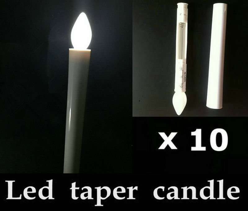 10pcs Battery operated Flameless Led taper tea candle lights electric candlestick Christmas Church Wedding decor 17.5CM(H)-WHITE(China (Mainland))
