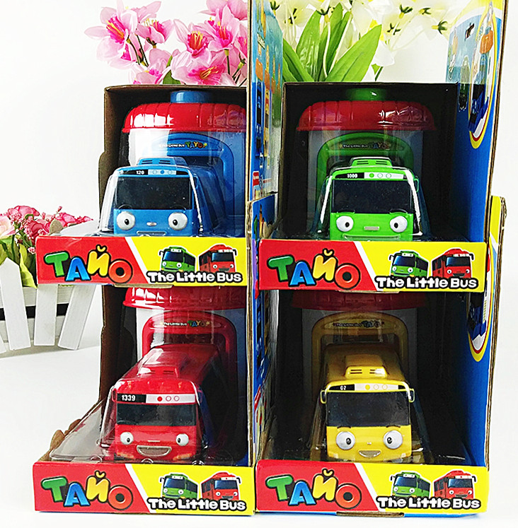 Free delivery 4pcs/set Korean Cute Cartoons garage tayo the little bus model mini tayo plastic baby car for Christmas gift(China (Mainland))