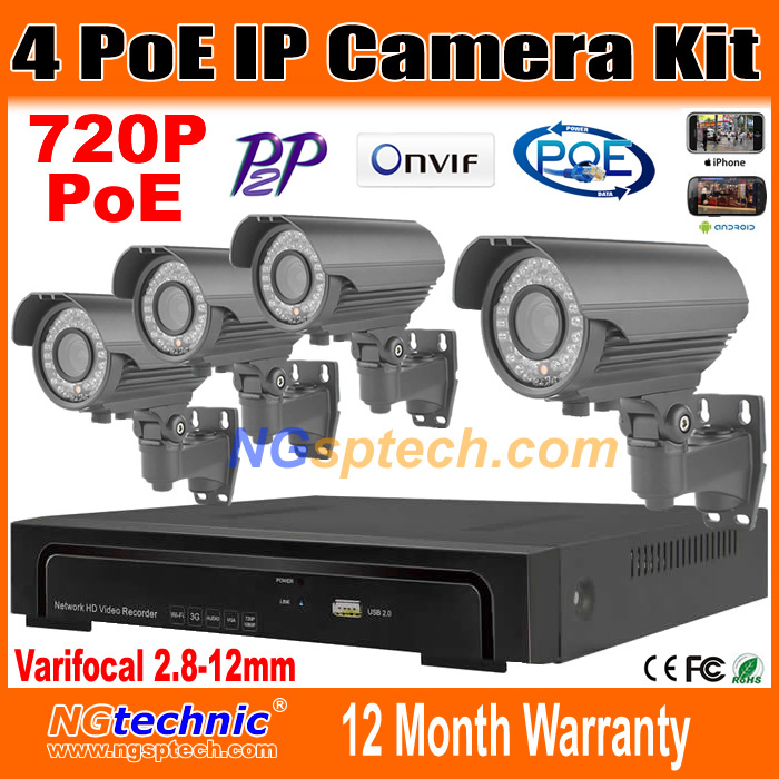 2014 Sale 4CH Onvif Full HD 48V Real PoE 80-100m NVR Kits With 720P varifocal 2.8-12mm lens IP Cameras  P2P Cloud Service<br><br>Aliexpress