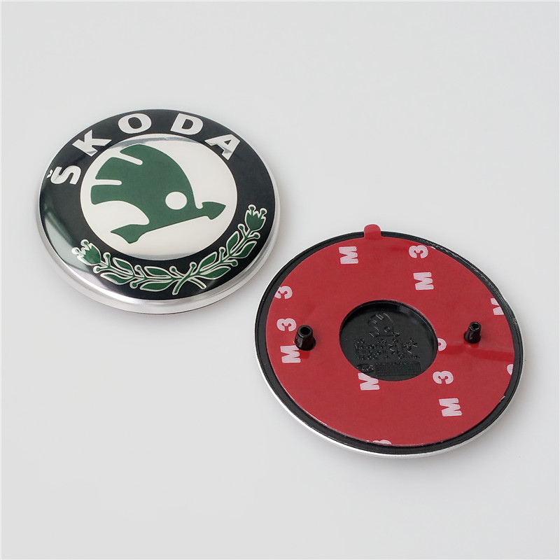 Original OEM SKODA Auto Car Emblem Logo Front Bonnet Hood Badge & Rear Boot Trunk Sticker for SKODA 90mm+80mm(China (Mainland))