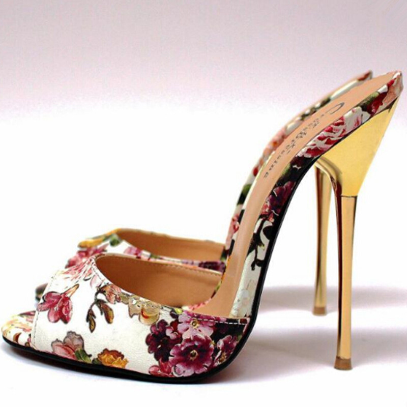 Sexy High Heels Slippers Women Peep Toe Flower Print Women Pumps Plus Size Summer Shoes Woman Zapatos Mujer Leather Slippers