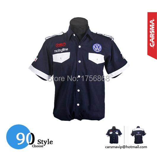 2016 вышивка 90 стиль MOTO GP хлопок мужские F1 короткий рукав рубашки для команда VW