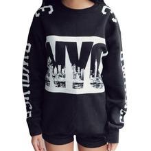 fashion Women Clothes 378 nda fashion nyc printed loose thickening fleece sweatshirt Girls hoodies sport pullover shirt black(China (Mainland))