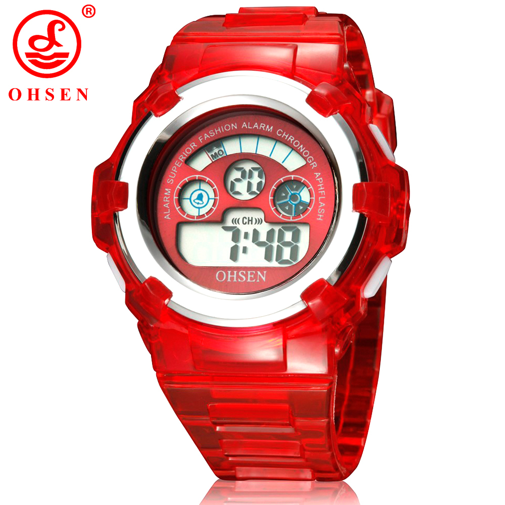 OHSEN Boys Girls Children 7 Colors LED Back Light Digital Multifunction Military Sports Watches Red Jelly Silicone Wrist Watch(China (Mainland))